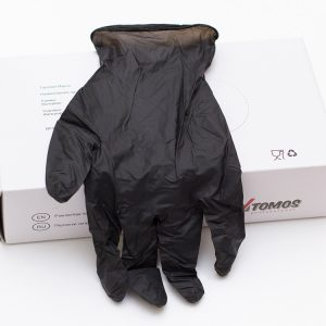 Rokavice nitrilbrez pudra Tomos črna 100 kos L