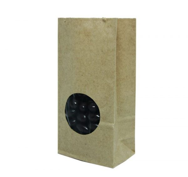 Papirnata vrečka s pravokotnim dnom 170х80х50 mm kraft, okno 5 (600 kos/pak)