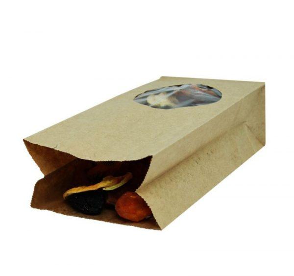 Papirnata vrečka s pravokotnim dnom 200x100x60 mm kraft, okno 7 (500 kos/pak)