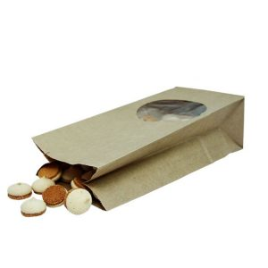 Papirnata vrečka s pravokotnim dnom 250x120x80 mm kraft, okno 9 (500 kos/pak)