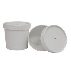 Papirnata posodica za juho s pokrovom 345 ml bela (336 kos/pak)
