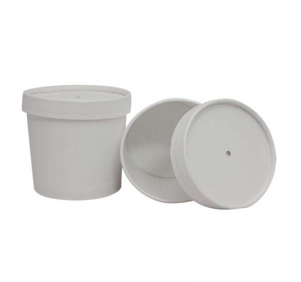 Papirnata posoda za juho 345 ml d=95 mm h=82 mm bela s pokrovom (336 kos/pak)