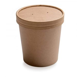 Papirnata posoda za juho ECO SOUP 440 ml d=75 mm h=100 mm kraft s pokrovom (250 kos/pak)