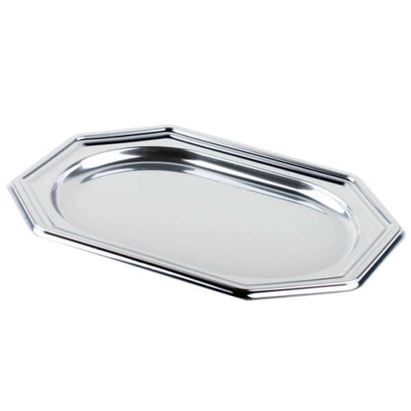 Pladenj Sabert 36x24cm 8-kotni, srebrn (5 kos/pak)