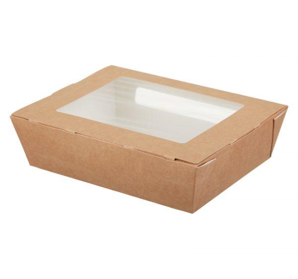 Papirnata posoda z oknom ECO SALAD 1000 ml 190x150x50mm kraft (200 kos/pak)