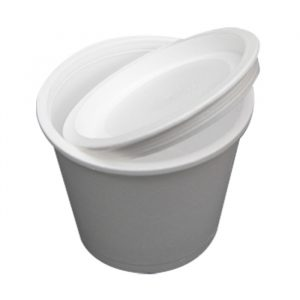 Posodica s pokrovom stiropor 500 ml d=110 ml h=91,6 mm bela (440 kos/pak)