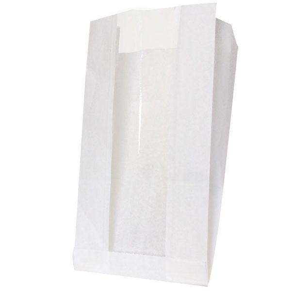 Papirnata vrečka z oknom 200(100)х60х300 mm bela (1000 kos/pak)