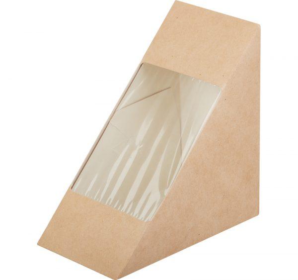 Papirnata škatlica z oknom ECO SANDWICH 130 х 130 х 70 mm kraft (50 kos/pak)