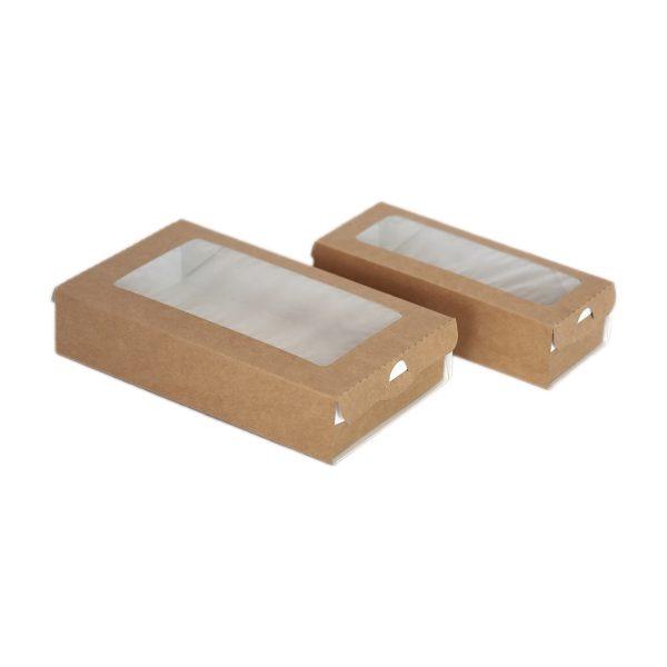 Papirnata posoda z oknom ECO CASE 500 ml 170x70x40 mm kraft (400 kos/pak)