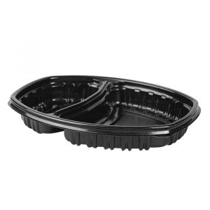 Posodica 2-delna PP 450/900 ml 257x202x37 mm črna (70 kos/pak)