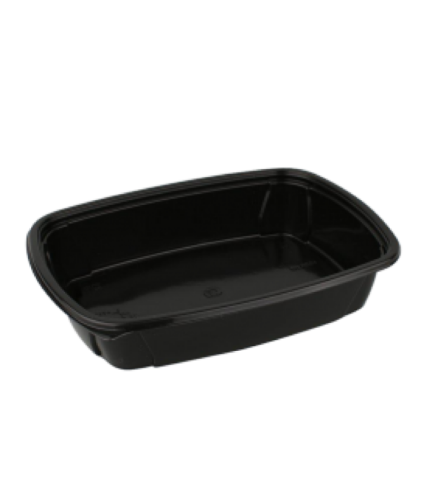 Pravokotna posodica s pokrovom PP 1000 ml črna, 100 kos (komplet)