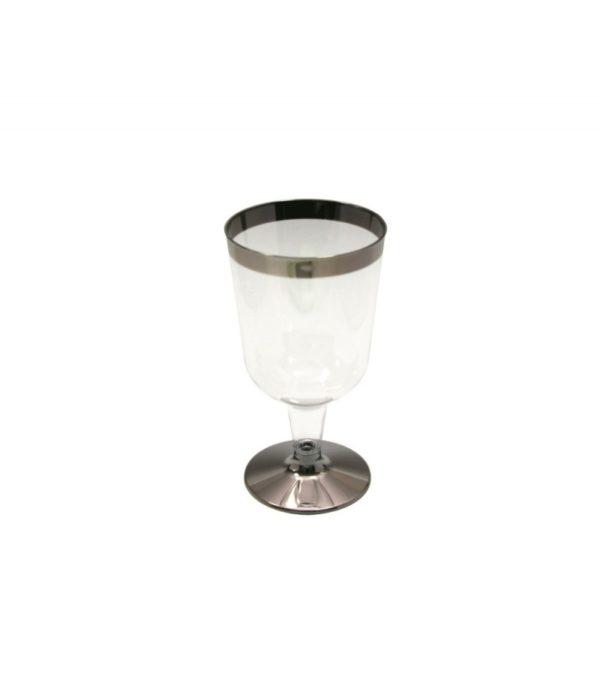Vinski kozarec PS TaMbien 180 ml prozoren s srebrno obrobo 6 kos/pak