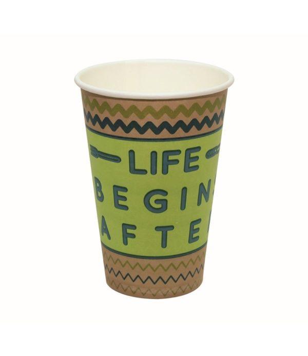 Papirnat kozarec 400 ml d=90 mm 1-slojni Happy Life kraft (50 kos/pak)