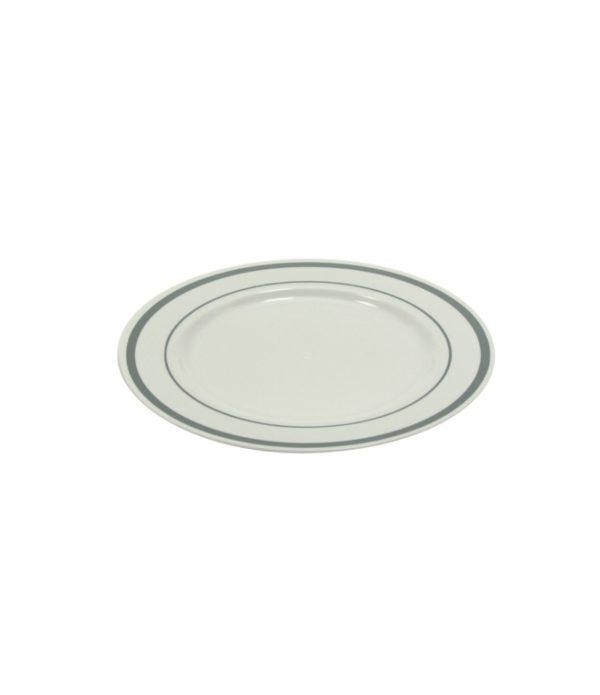 Plastičen krožnik TaMbien s srebrno obrobo, bel d=190 mm 10 kos/pak
