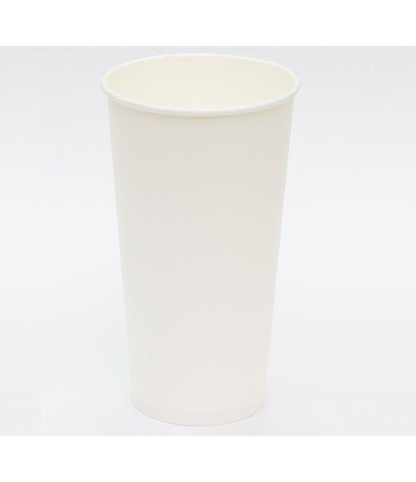 Papirnat kozarec za tople napitke 500 (650) ml d=90 mm enoslojen bel (50 kos/pak)