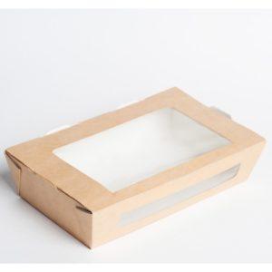 Papirnata posodica z oknom ECO SALAD 600 ml 150x115x50 mm kraft (350 kos/pak)