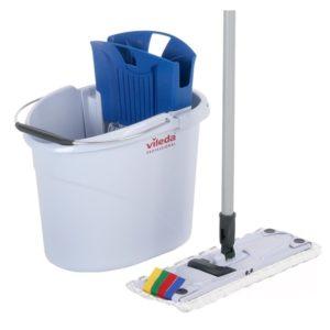 Komplet za čiščenje tal Vileda (vedro 10L z ožemalnikom, nosilec za krpe 34cm, MOP, držalo), v modri barvi (001c/143566)