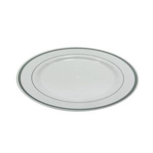 Krožnik PS TaMbien d=230 mm bel s srebrno obrobo 10 kos/pak