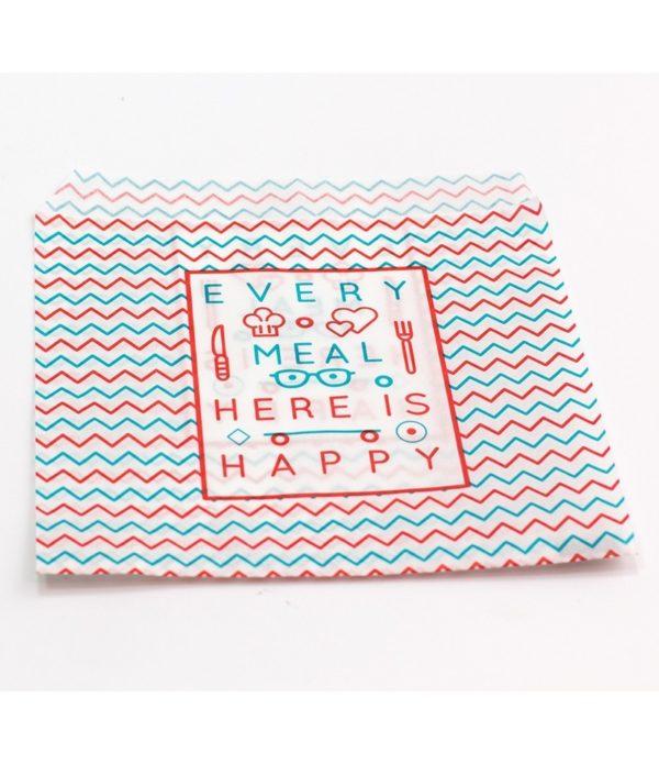 Vrečka za hamburger 150×170 mm Happy Life (2500 kos/pak)