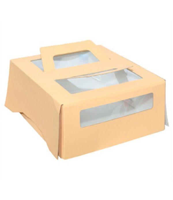 Škatla za torte z ročaji in oknom 260x260x130 mm do 1,5 kg (20 kos/pak)