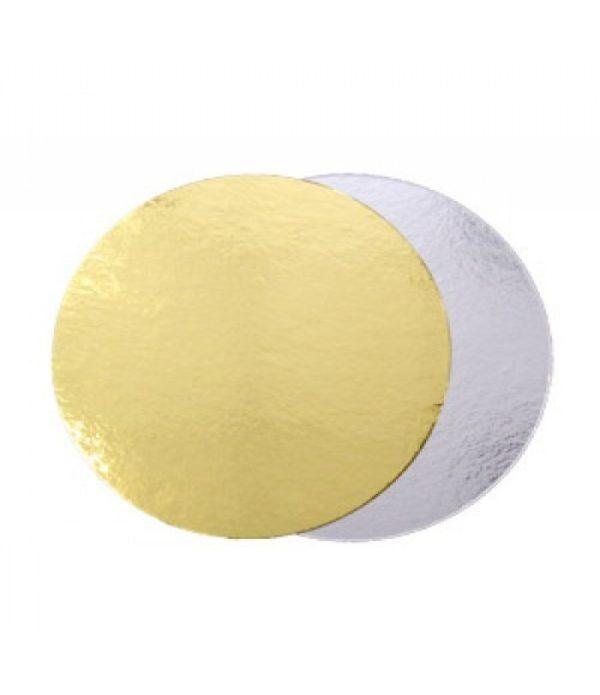 Podstavek okrogli za torto kartonasti d=280 mm zlat/srebrn