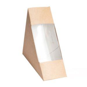 Sendvič embalaža s oknom ECO SANDWICH 130x130x60 mm kraft (50 kos/pak)