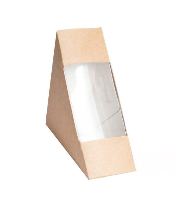 Sendvič embalaža z oknom ECO SANDWICH 130x130x60 mm kraft (50 kos/pak)