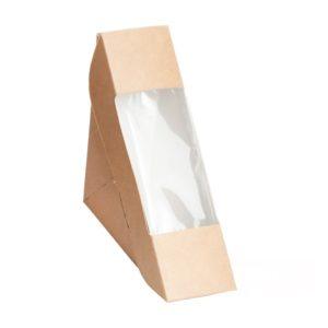 Sendvič embalaža s oknom ECO SANDWICH 130х130х50 mm kraft (600 kos/pak)