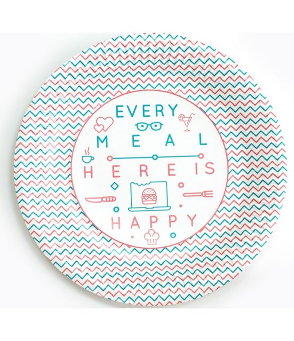 Papirnat krožnik d=230 mm Happy Life (100 kos/pak)