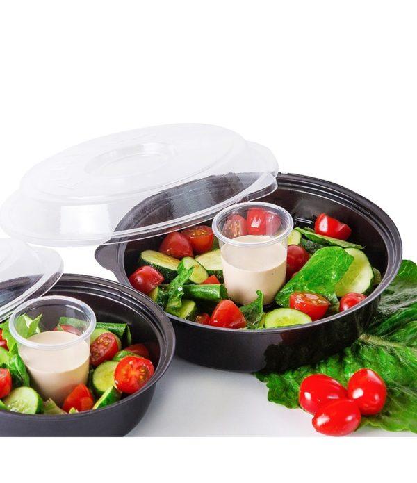 Posodica za solato PS 850 ml črna, dno s skledicami za omake (400 kos/pak)