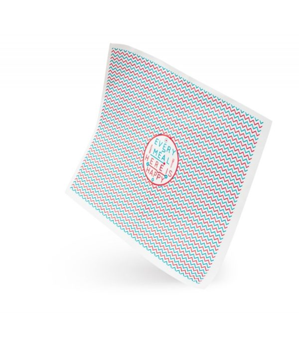 Ovojni papir za hamburgerje 250×320 mm voščen Happy Life (3000 kos/pak)