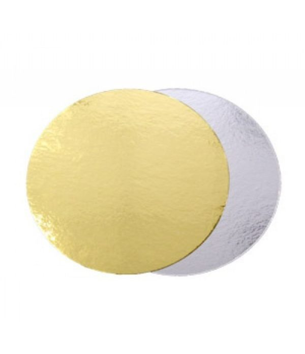 Podstavek za torto kartonasti d=220 mm zlat/srebrn (50 kos/pak)
