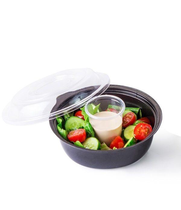 Posodica PS za solato 450 ml črna, dno s skledicami za omake (400 kos/pak)