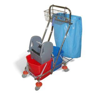 Voziček za čiščenje 2-vedrni 2x15L, z mehanskim ožemalnikom, košaro in držalom za vrečke za smeti, kromiran