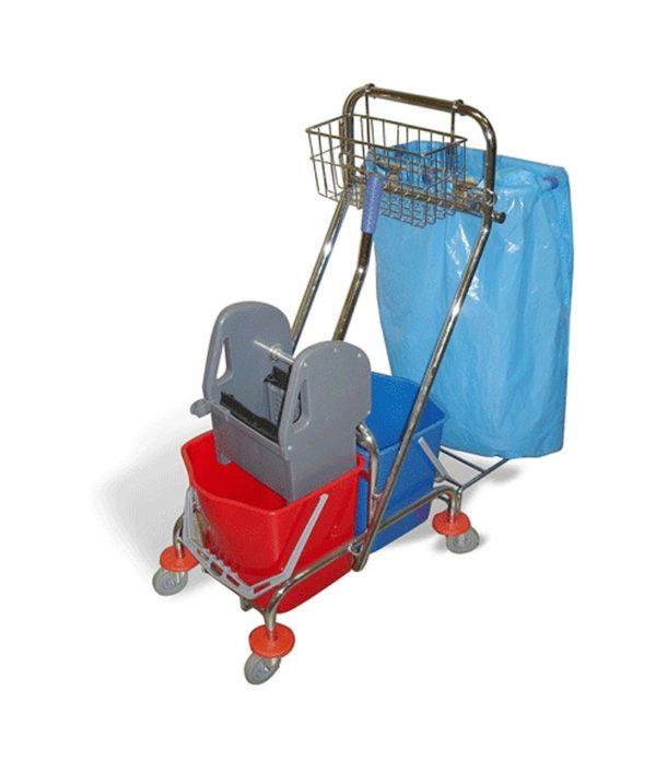 Voziček za čiščenje 2-vedrni 2×15 L z mehanskim ožemalnikom, košaro in držalom za vrečke za smeti, kromiran