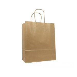 Papirnata vrečka s pletenim ročajem 260x140x350mm, kraft