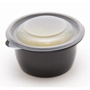 Okrogla posodica s pokrovom 375 ml črna, 50 kos (komplet)