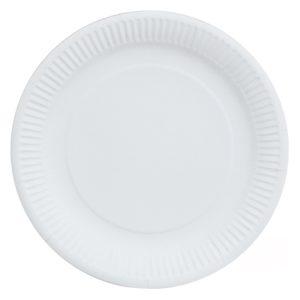 Papirntat krožnik d=230 mm bel, živilski lak (100 kos/pak)