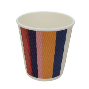Papirnat kozarec 250 ml d=80 mm 3-slojni valovit barvne črte (25 kos/pak)