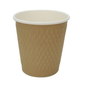 Papirnat kozarec 250 ml troslojen valovit, d=80 mm, kvadrat zlati kraft (25 kos/pak)