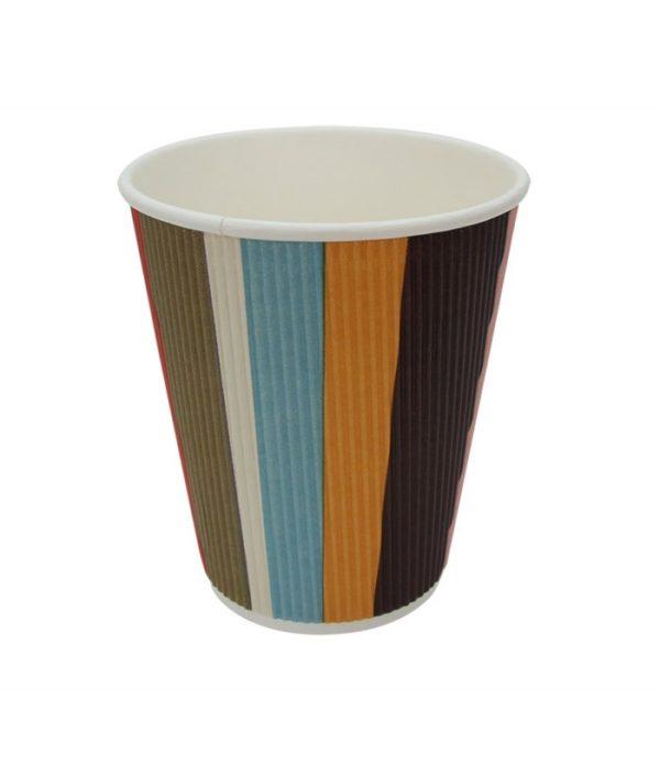 Papirnat kozarec 310 ml d=90 mm 3-slojni valovit barvne črte (25 kos/pak)