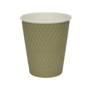 Papirnat kozarec 300 ml d=90 mm 3-slojni valovit kvadrat zlati kraft (25 kos/pak)