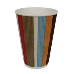 Papirnat kozarec 410 ml d=90 mm 3-slojni valovit barvne črte (25 kos/pak)
