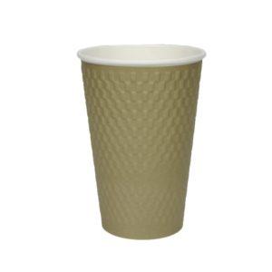 Papirnat kozarec 400 ml d=90 mm 3-slojni valovit kvadrat zlati kraft (25 kos/pak)