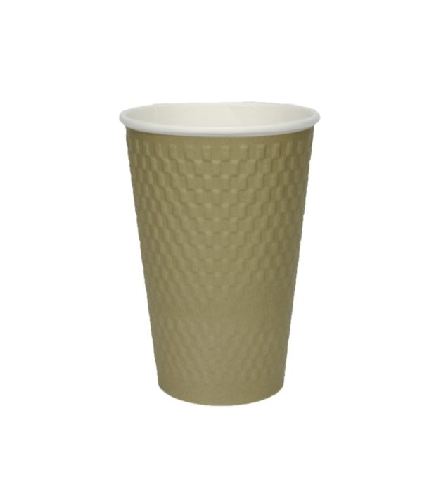Papirnat kozarec 400 ml troslojen valovit, d=90 mm, kvadrat zlati kraft (25 kos/pak)