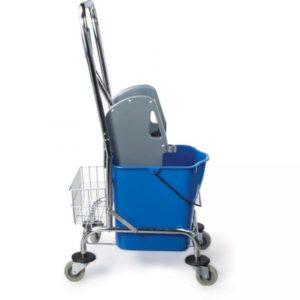 Voziček za čiščenje 1-vedrni 25L, z mehanskim ožemalnikom in plastično košaro