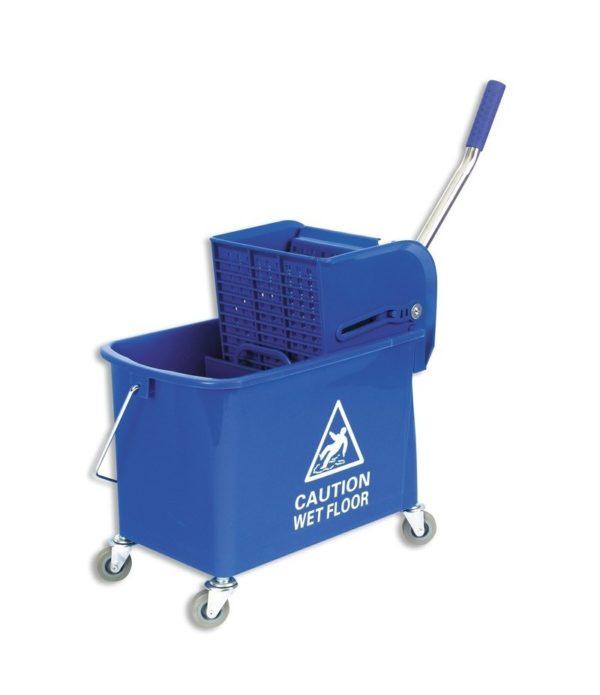 Vedro s kolesi 20 L z mehanskim ožemalnikom, plastično, modro