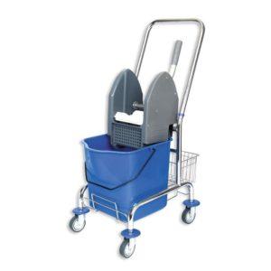 Voziček za čiščenje 1-vedrni 23L, z mehanskim ožemalnikom in kovinsko košaro