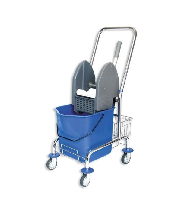 Voziček za čiščenje 1-vedrni 23 L, z mehanskim ožemalnikom in kovinsko košaro
