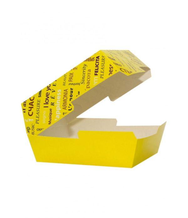 Škatla za hamburgerje FIESTA 118 х 117 х 71 mm rumena (50 kos/pak)
